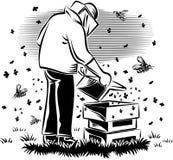 L'apiculteur prend soin de sa ruche illustration de vecteur