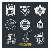 l'apiculture Ensemble de labels de miel de vintage illustration stock