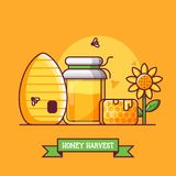 L'apiculture et Honey Harvest Background illustration de vecteur