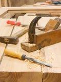 L'appareil de bureau du travailleur du bois Photo stock