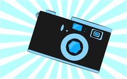 L'appareil-photo obsolète de vieux rétro de vintage hippie bleu d'antiquité avec une lentille et un diaphragme contre une triangl illustration libre de droits