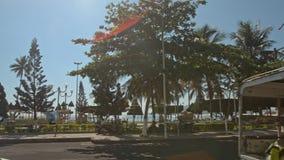 L'appareil-photo se déplace par le parc tropical de passé du trafic sur le bord de mer banque de vidéos