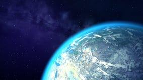 L'appareil-photo se tourne vers la terre, la belle animation 3D illustration de vecteur