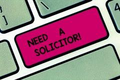 L'apparence conceptuelle d'écriture de main a besoin d'un avocat-conseil Photo d'affaires présentant l'avocat a affaire avec dont image stock