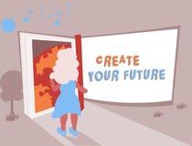 L'apparence conceptuelle d'écriture de main créent votre avenir Les buts réglés de cible et de carrière des textes de photo d'aff illustration de vecteur