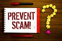 L'apparence conceptuelle d'écriture de main empêchent l'appel de motivation de Scam Transactions frauduleuses mA de protection de photo stock