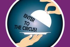 L'apparence conceptuelle d'écriture de main entrent au cirque Le texte de photo d'affaires vont à la récréation de festival d'exp illustration libre de droits
