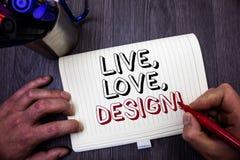 L'apparence conceptuelle d'écriture de main vivante, amour, conçoivent l'appel de motivation La présentation de photo d'affaires  Images libres de droits