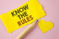 L'apparence de note d'écriture connaissent les règles La présentation de photo d'affaires comprennent que les termes et condition Image stock