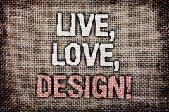 L'apparence de note d'écriture vivante, amour, conçoivent l'appel de motivation La présentation de photo d'affaires existent tend Image stock