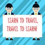 L'apparence de signe des textes apprennent à voyager voyage à apprendre La photo conceptuelle font des voyages pour apprendre le  illustration stock