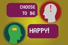 L'apparence de signe des textes choisissent d'être heureuse La photo conceptuelle décident qu'étant dans un heureux gai de bon sm illustration de vecteur