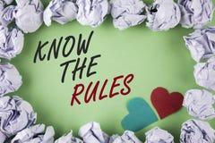 L'apparence de signe des textes connaissent les règles La photo conceptuelle comprennent que les termes et conditions obtiennent  Images libres de droits