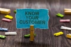 L'apparence de signe des textes connaissent votre client La vente conceptuelle de photo créant un scrutin améliorent le produit o photos stock