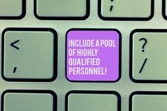 L'apparence de signe des textes incluent un groupe de personnel fortement qualifié Excellente clé de clavier de représentation de photographie stock libre de droits