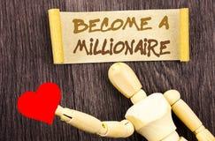 L'apparence de signe des textes vont bien à un millionnaire L'ambition conceptuelle de photo à devenir riche gagnent chanceux de  Photos stock