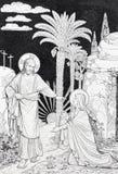 L'apparition du seigneur à Mary de la lithographie de Magdalen images stock