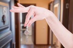 L'appartamento digita la mano della donna immagini stock libere da diritti