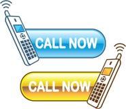 L'appel boutonnent maintenant le Web avec le vecteur brillant de téléphone de maison Photo libre de droits