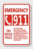 l'appel d'urgence de symbole 911 se connectent le fond transparent illustration stock