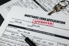 L'application de prêt hypothécaire a approuvé 006 Photos stock
