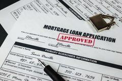 L'application de prêt hypothécaire a approuvé 005 Images libres de droits