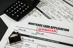 L'application de prêt hypothécaire a approuvé 013 Photos libres de droits