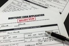 L'application de prêt hypothécaire a rejeté 009 images stock
