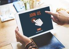 L'application de recrutement de rejoignez-nous suivent le concept en ligne de site Web photo libre de droits