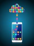 L'application l'a téléchargé et a installé sur le smartphone du nuage illustration de vecteur