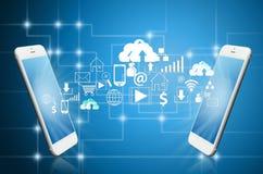 L'applicazione dello Smart Phone sincronizza Fotografie Stock Libere da Diritti