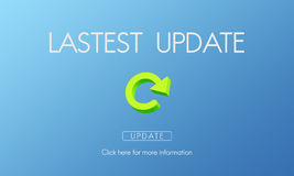 L'applicazione fresca degli aggiornamenti di ultima versione aggiorna il concetto fotografie stock libere da diritti