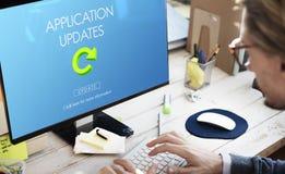 L'applicazione fresca degli aggiornamenti di ultima versione aggiorna il concetto immagini stock libere da diritti