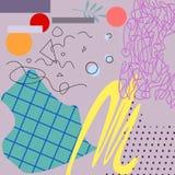 L'applique en pastel d'art avec les éléments géométriques dirigent l'illustration illustration de vecteur