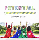 L'apprendimento di istruzione è concetto del grafico dei bambini di divertimento fotografia stock libera da diritti