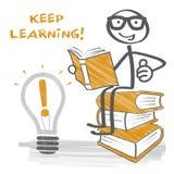 L'apprendimento Keep - attacchi la figura, il mucchio dei libri e la lampadina illustrazione di stock
