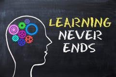 L'apprendimento non conclude mai il messaggio sulla lavagna con forma e gli ingranaggi della testa umana immagini stock