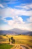 L'après-midi d'été marche sur la route toscane célèbre Photos stock