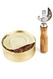 L'apri del barattolo di latta e può con alimento Fotografia Stock