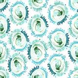 L'aquarelle abstraite de vecteur tourbillonne modèle sans couture Fond bleu de tuile de cercles Photo stock