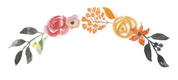 L'aquarelle Autumn Garland Arch Wreath Leaf Wedding part du feuillage peint à la main Images libres de droits