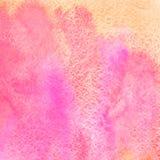 L'aquarelle carrée rose et orange souille le fond Image libre de droits