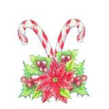 L'aquarelle crayonne le fond de Noël Photo stock
