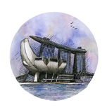 L'aquarelle de dessin de main de Marina Bay Sands Singapore de casino d'hôtel d'isolement Photo libre de droits