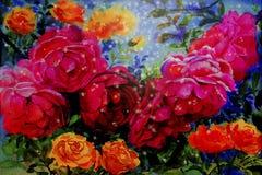L'aquarelle de peinture fleurit le paysage coloré des roses Images libres de droits