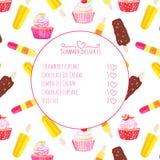 L'aquarelle de petits gâteaux et de crème glacée dirigent la carte de menu Image stock