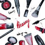 L'aquarelle de vecteur fascinante composent l'ensemble de cosmétiques avec le vernis à ongles et le rouge à lèvres Conception cré Photo libre de droits