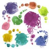 L'aquarelle de vecteur griffonne des bulles Images stock