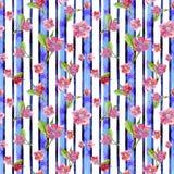 L'aquarelle dessinant le modèle sans couture sur le thème du ressort, jour femelle, été, Sakura fleurit dans la perspective du st Photographie stock