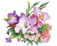 L'aquarelle fleurit dans le style classique sur un fond blanc Photo stock